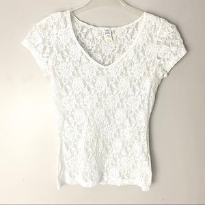 Hanky Panky Lace Short-Sleeve White Top - S